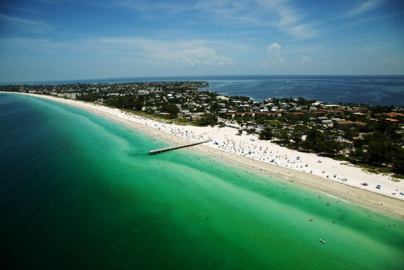 Aerial view of Holmes Beach in Anna Maria Island