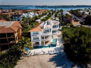Aerial shot of amazing luxury vacation rental in Bradenton Beach, FL