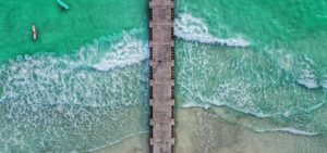 Aerial shot of Coquina Beach in Anna Maria Island, FL