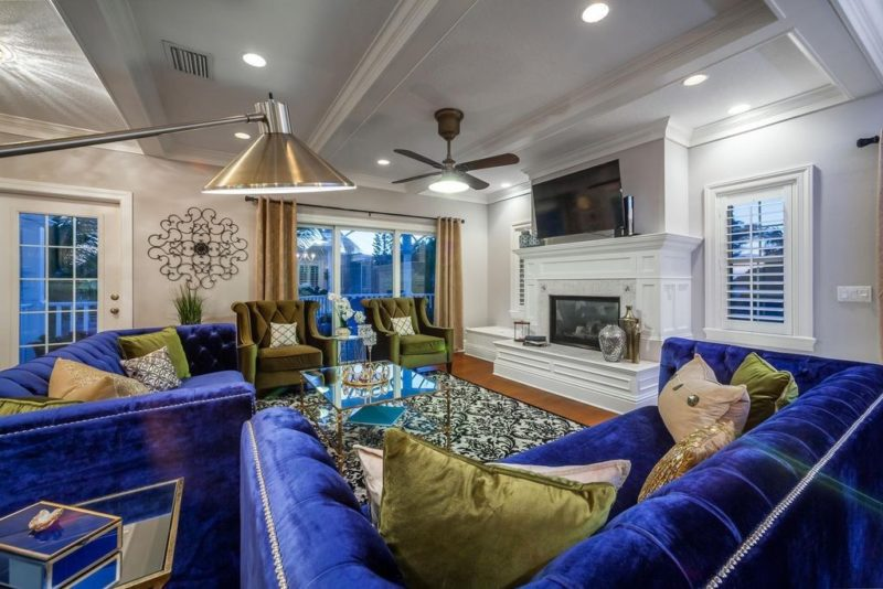 Living room view of gorgeous Anna Maria vacation home