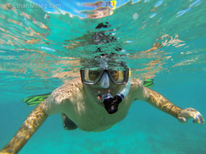 Man under water snorkeling in Anna Maria Island, FL