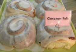 Close up of cinnamon rolls from Ginny's and Janes cafe in anna maria island