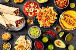 a table full of mexican food